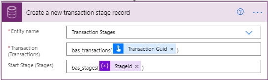 Adaptive Cards - Microsoft Power Automate - Cloud Flow - Create Transaction Stage