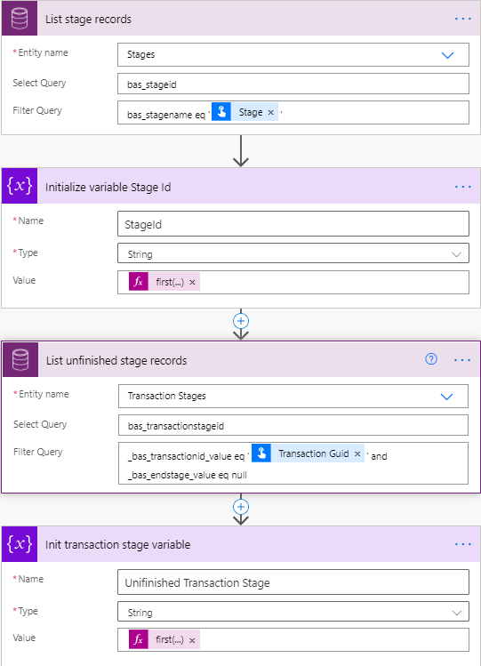 Adaptive Cards - Microsoft Power Automate - Cloud Flow - Get Stages and Transaction Stages
