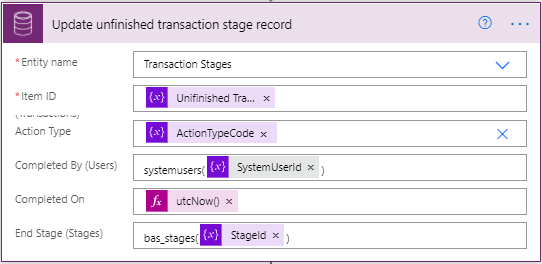 Adaptive Cards - Microsoft Power Automate - Cloud Flow - Update Transaction Stage