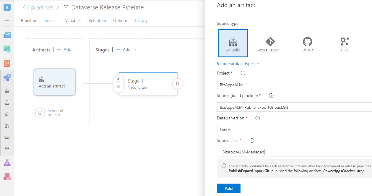 Azure DevOps ALM Process - Release Pipeline - Add Artifact