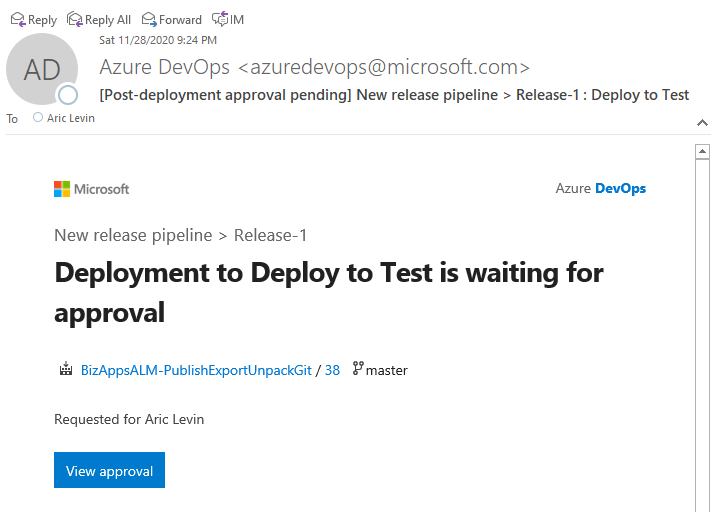 Azure DevOps ALM Process - Release Pipeline - Approver Notification