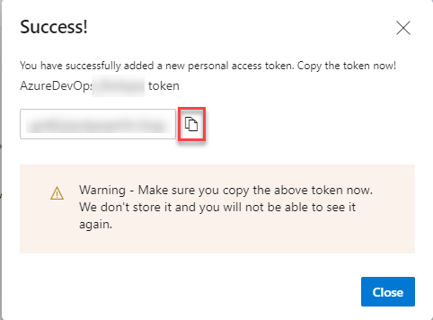 Azure DevOps - New Token Success Confirmation