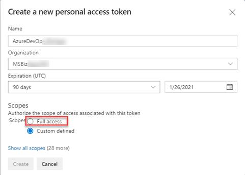 Azure DevOps - Create New Access Token