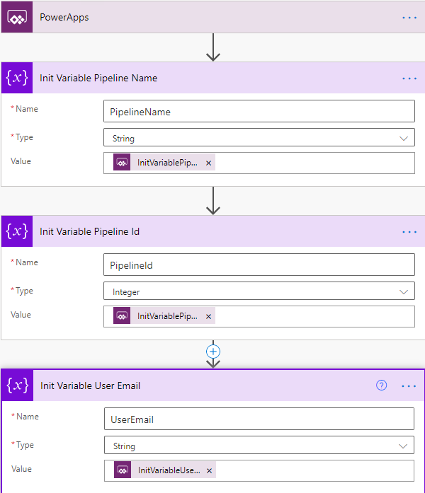 Azure DevOps Pipelines - Cloud Flow - PowerApps Trigger and Init Variables