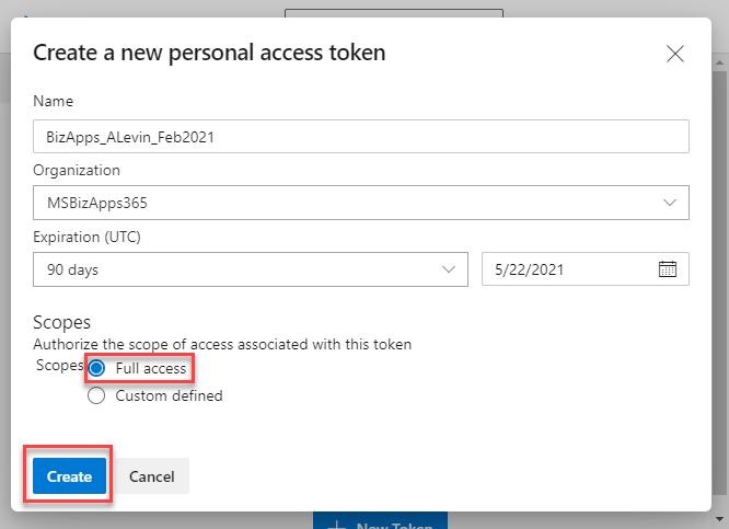 Azure DevOps Pipeline - Cloud Flow - Personal Access Token - New Token Dialog