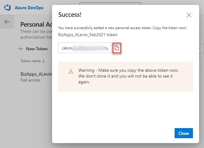 Azure DevOps Pipeline - Cloud Flow - Personal Access Token - New Token Confirmation