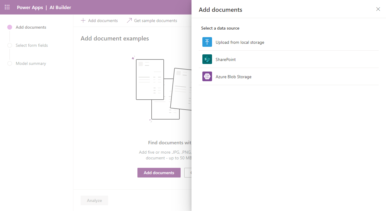 AI Builder - Add Documents from Local Storage, SharePoint or Azure Storage Container Blob