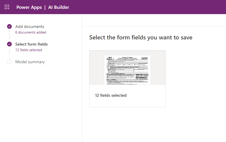 AI Builder - Form fields selection complete