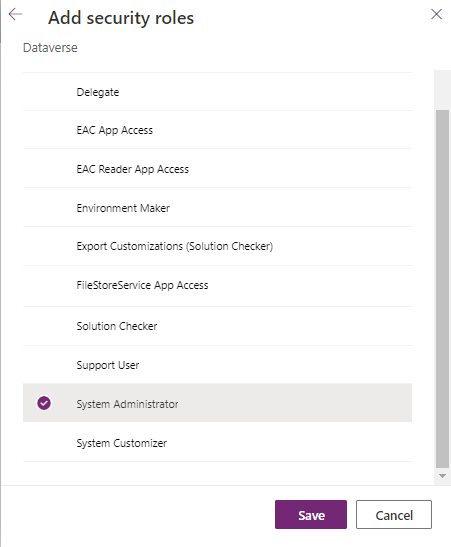 Dataverse - PPAC - Add App User - Select Security Roles