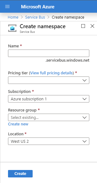 Azure Service Bus Create Namespace