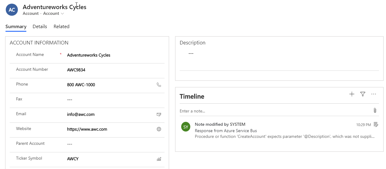 Azure Service Bus Integration (End to End - First Try)