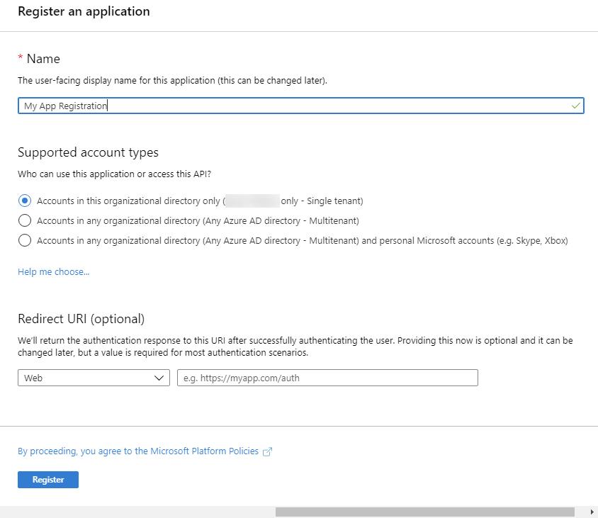 Azure AD - Register an Application