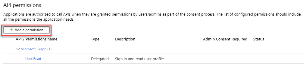 Azure AD App Registration - Add a permission