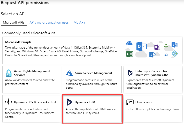 Azure AD App Registration - Select an API