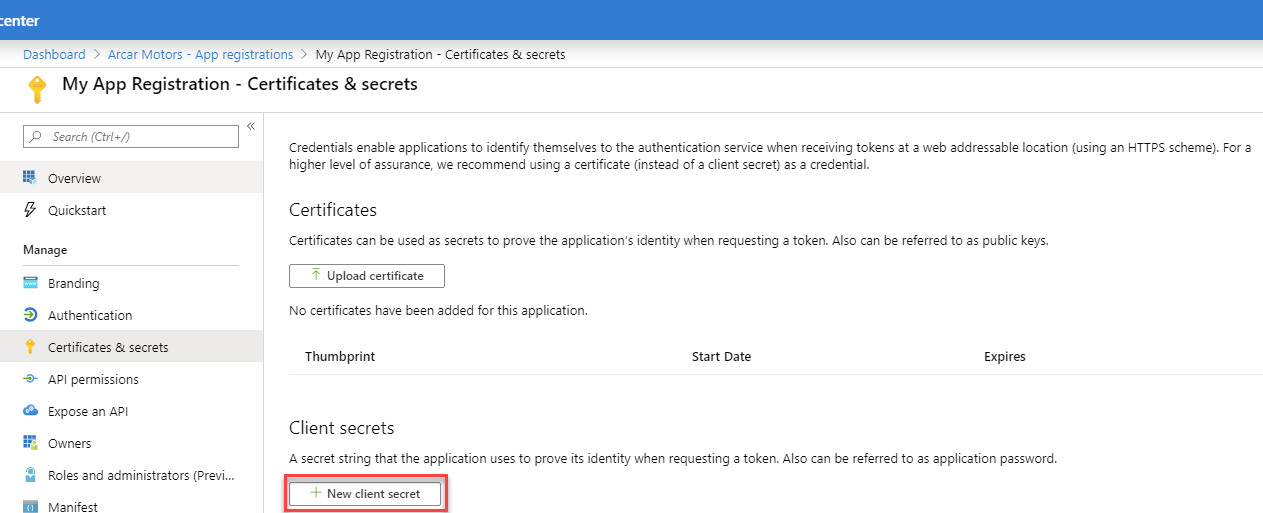 Azure AD App Registration - Certificates and secrets