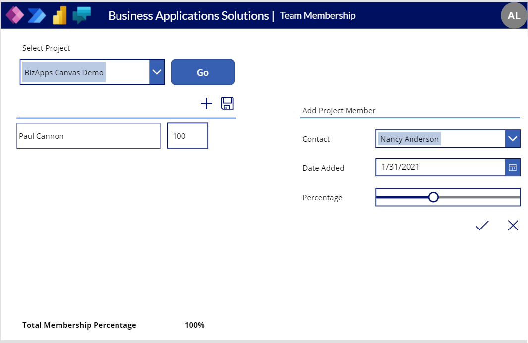 Canvas App - Membership Management - Canvas Add New Member