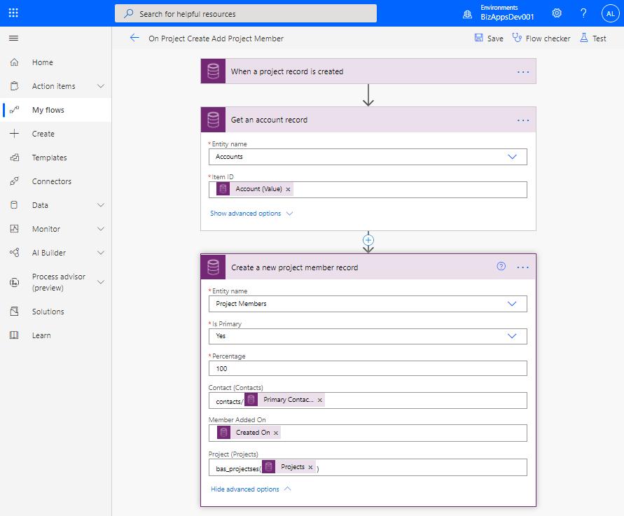 Canvas App - Membership Management - New Project - Cloud Flow