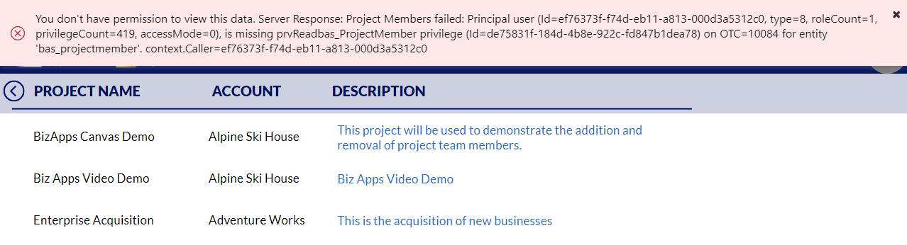 Canvas App Dataverse Privilege - Missing Privilege Exception