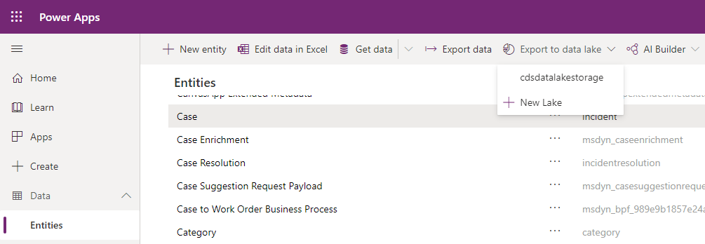 CDS Export to Data lake - Add new entity to existing export