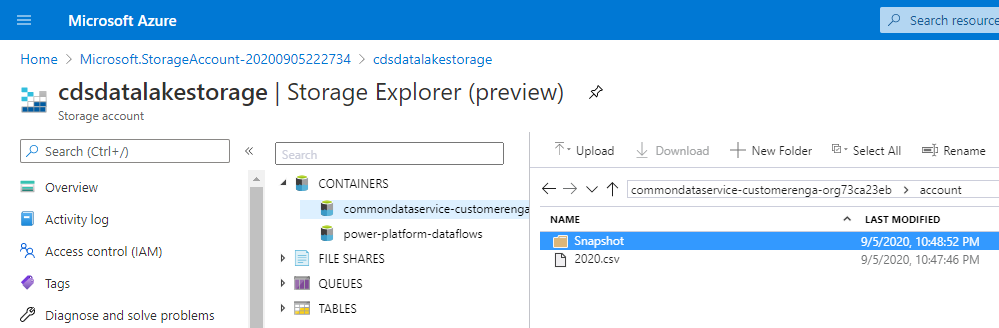 CDS Export to Data lake - Storage Account Folder View