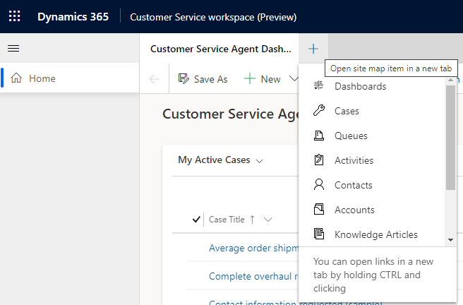 Customer Service Workspace (Preview) - Site Map Navigation