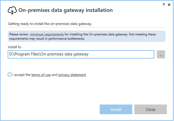 Azure On Premises Data Gateway Installation Location