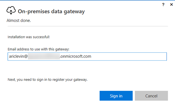 Azure On Premise Data Gateway - Login