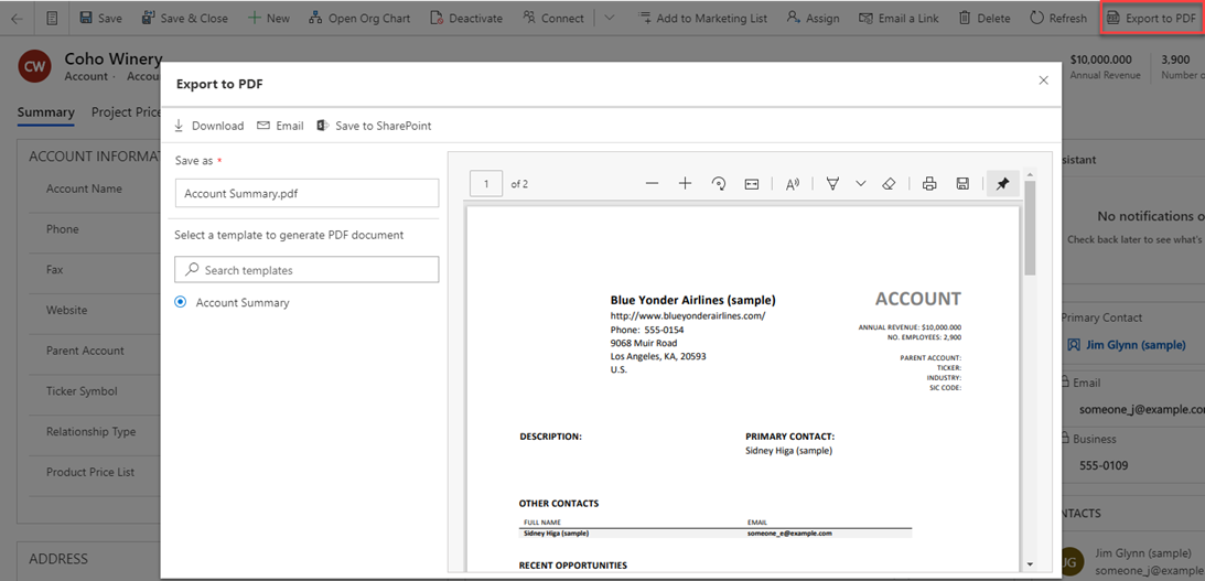 Dynamics 365 2020 Wave 2 Release Plan - Export to PDF functionality