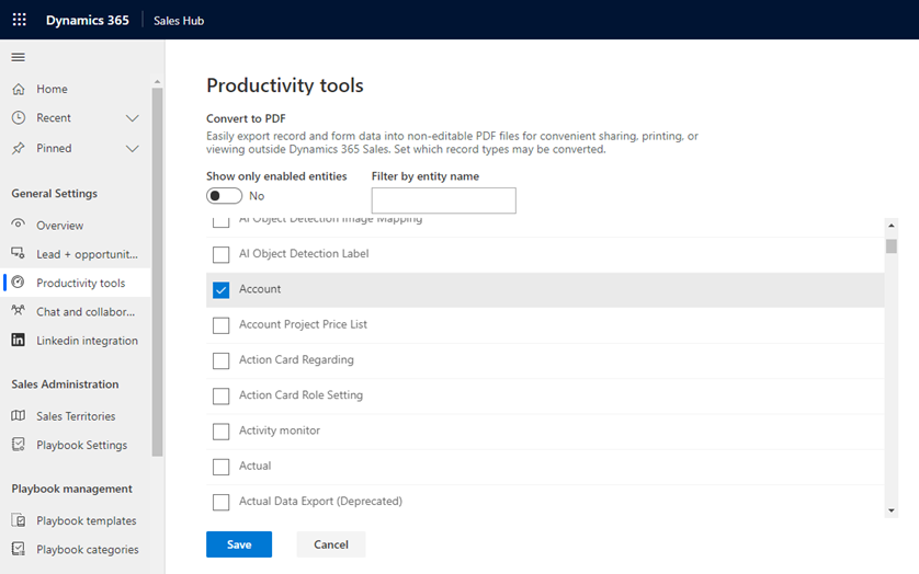 Dynamics 365 2020 Wave 2 Release PDF Document Export Settings