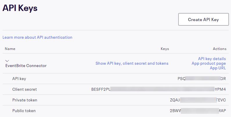 Eventbrite Integration - API Keys