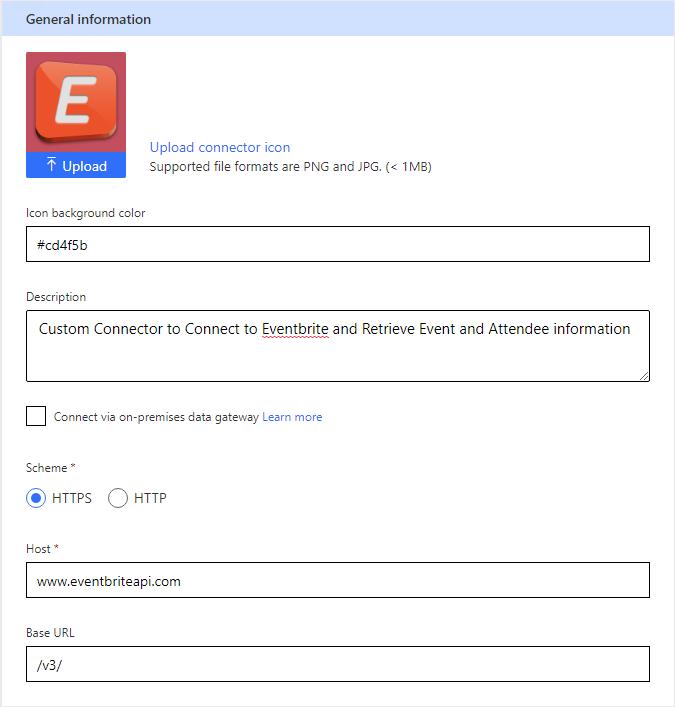 Eventbrite Integration - Custom Connector General Tab