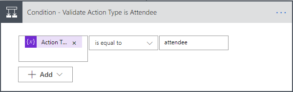 Eventbrite Integration - Attendee Flow Condition Validate Action Type is Attendee