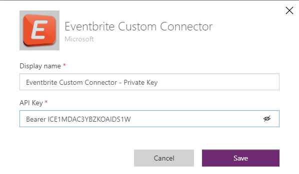 Eventbrite Integration - Custom Connector Authentication Key