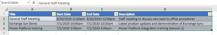 Power Automate Flow - Outlook Events