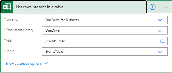Power Automate Flow - Outlook Events - List rows from table