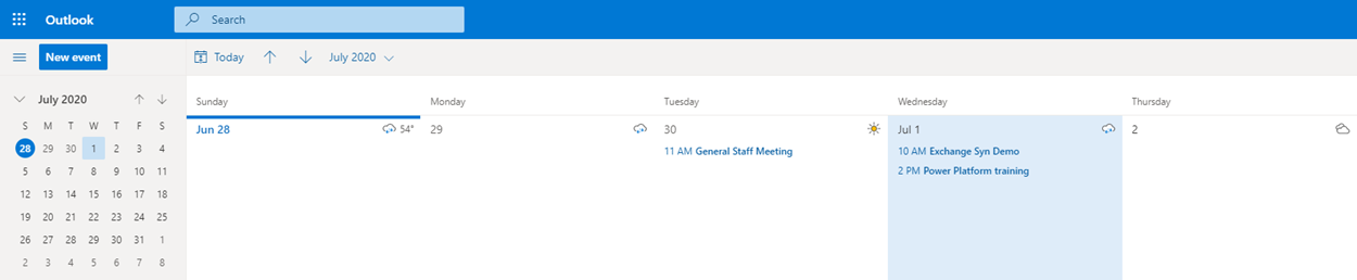 Power Automate Flow - Outlook Events - Outlook calendar results