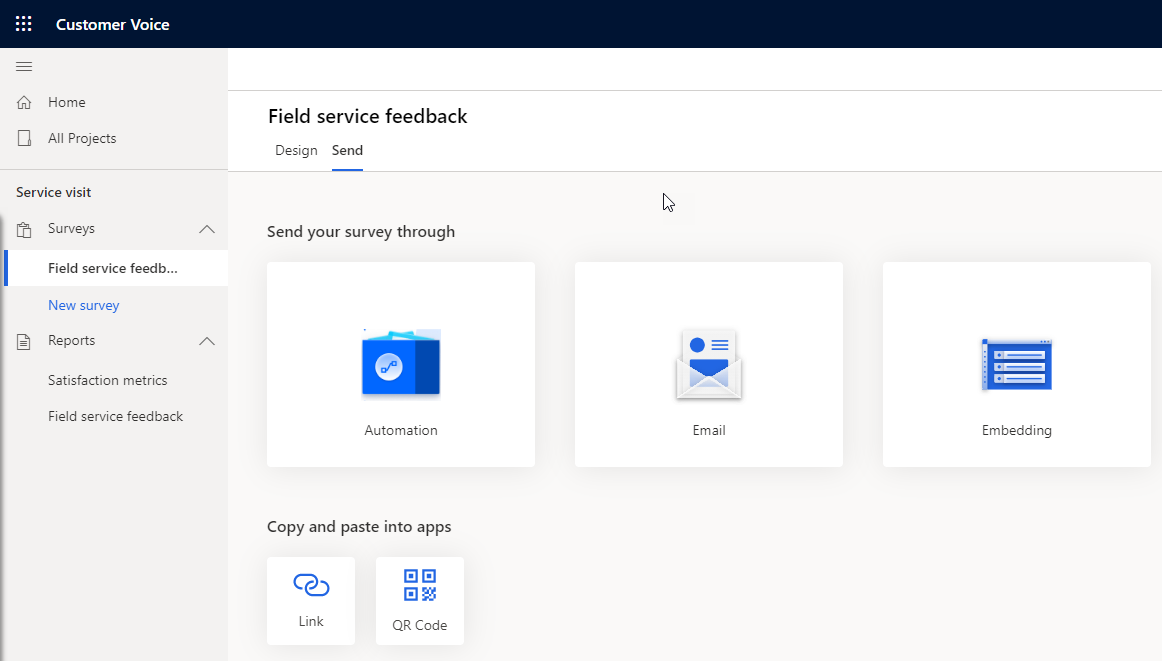 Forms Pro to Dynamics 365 Customer Voice - Send Survey Options