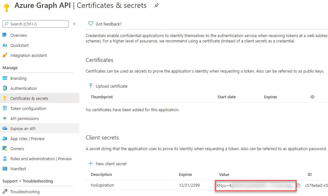 Microsoft Graph - App Registration - Client Secret