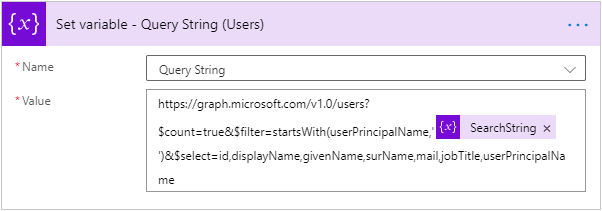 Microsoft Graph - Power Automate Flow - Query String Variable