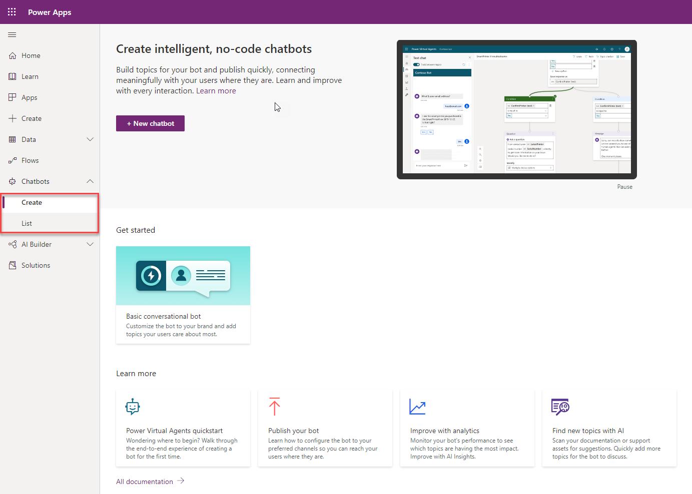 Power Apps Maker Portal June 2020 Updates - Chatbots