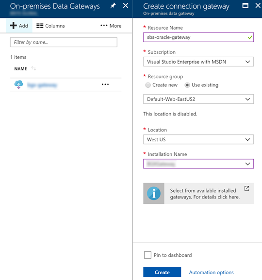 Create Gateway Connection in Azure