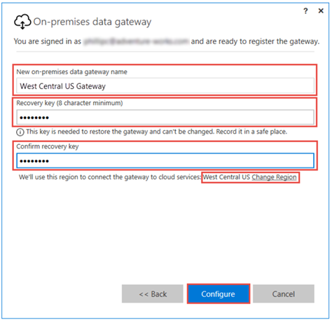 Setting Gateway name and recovery key