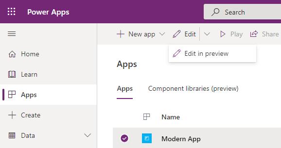 Modern App Designer Preview - Edit in Preview Designer