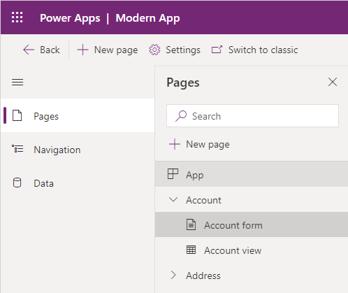 Modern App Designer Preview - Pages Navigation
