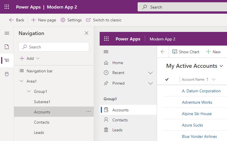 Modern App Designer Preview - Site Map Navigation