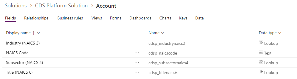 Account Entity fields