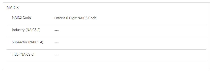 NAICS PCF Step 1