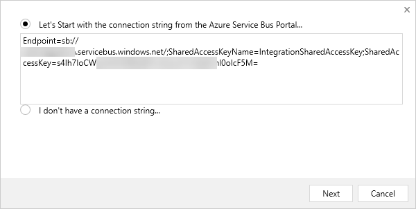 Add Service Bus Endpoint Connection String