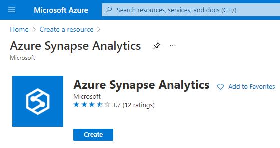 Create Resource - Azure Synapse Analytics