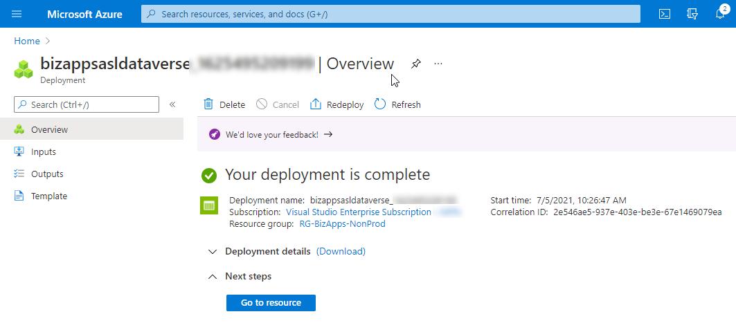 Create Resource - Azure Storage Account (Data Lake Gen 2) - Deployment Complete